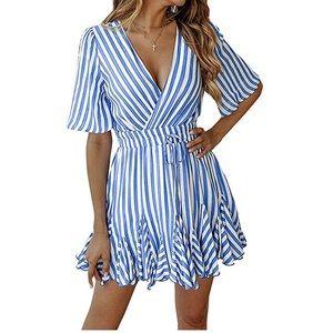 Dresses & Skirts - V neck dress with ruffled hem